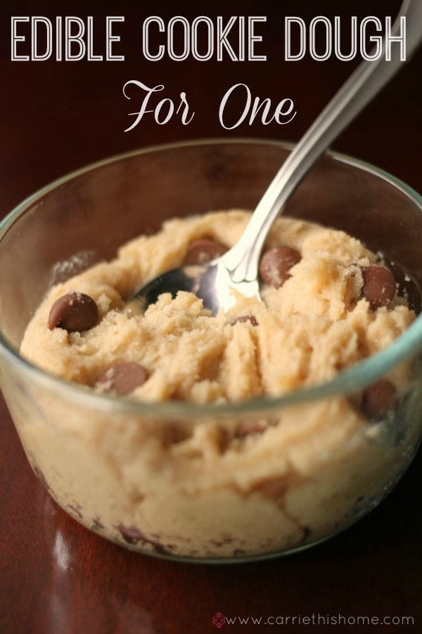 Edible cookie dough for one. Great way to enjoy a sweet treat without overeating!