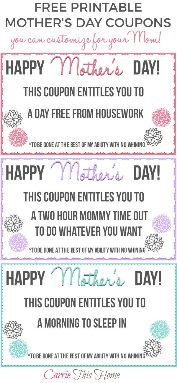 Free Printable Mother\u0027s Day Coupons - diy printable coupons
