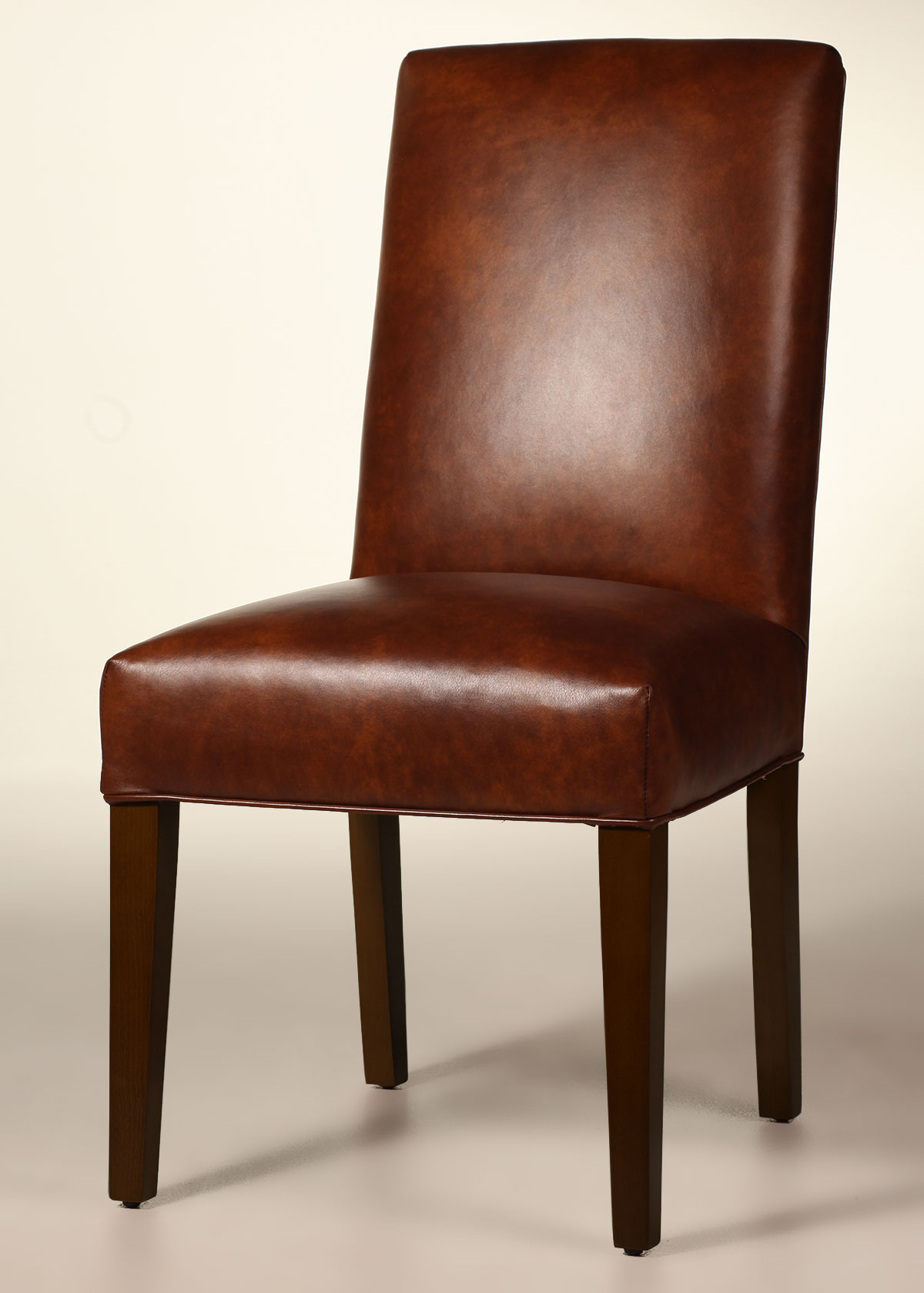 Leather Dining Chairs Bristol Straight Back Leather Dining Chair With Tapered