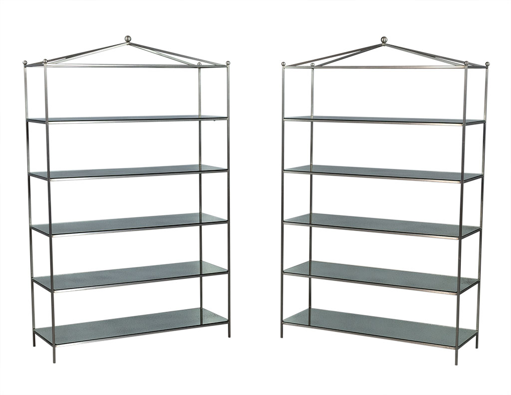 Pair Of Stainless Steel And Antique Mirrored Etageres Carrocel