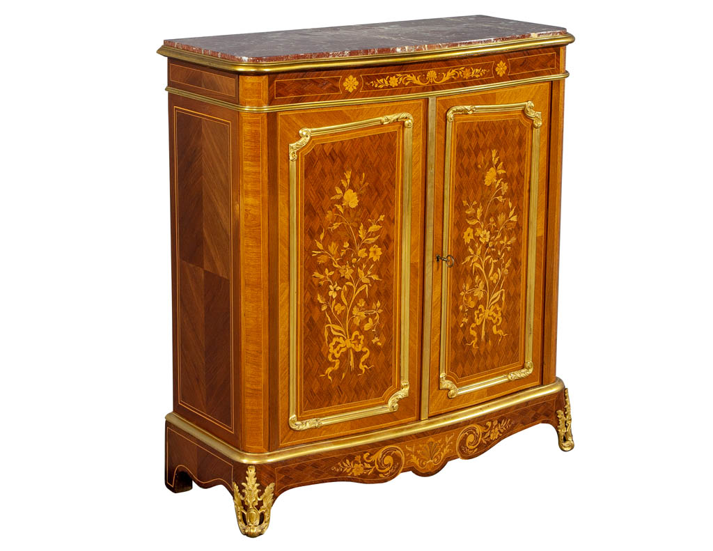 Commodes Louis 15 Antique French Louis Xv Style Marble Top Commode With Floral Marquetry