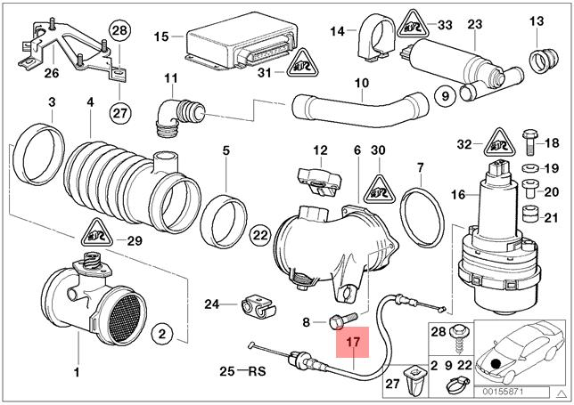 Genuine BMW 740iL Accelerator Cable - Secondary Throttle Housing to