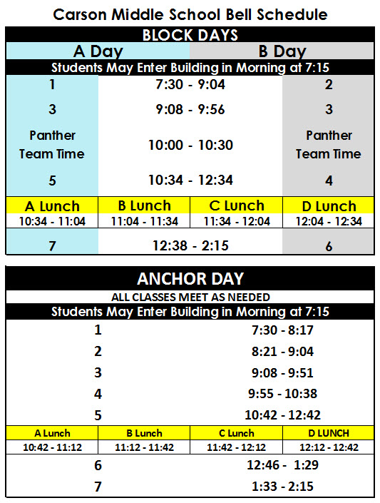 Daily Schedule at Rachel Carson Rachel Carson Middle School