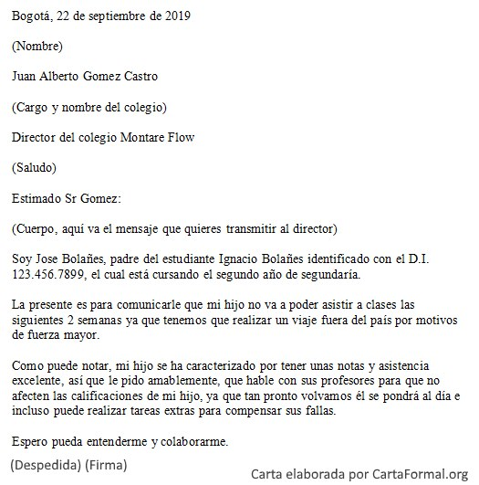 Carta formal para un director - De empresa, escuela y general