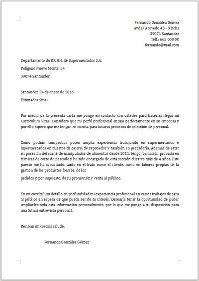 Ejemplo de carta de presentación para Camarero