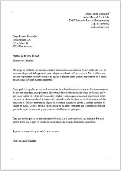 Ejemplo de carta de presentación para Hostelería