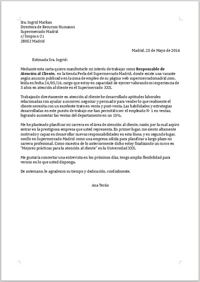 Ejemplo de carta de presentación para Responsable de Atención al Cliente