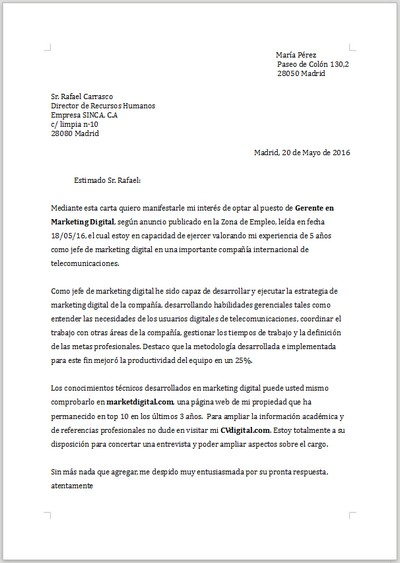 Ejemplo de carta de presentación para Gerente de Marketing Digital - cartas profesionales