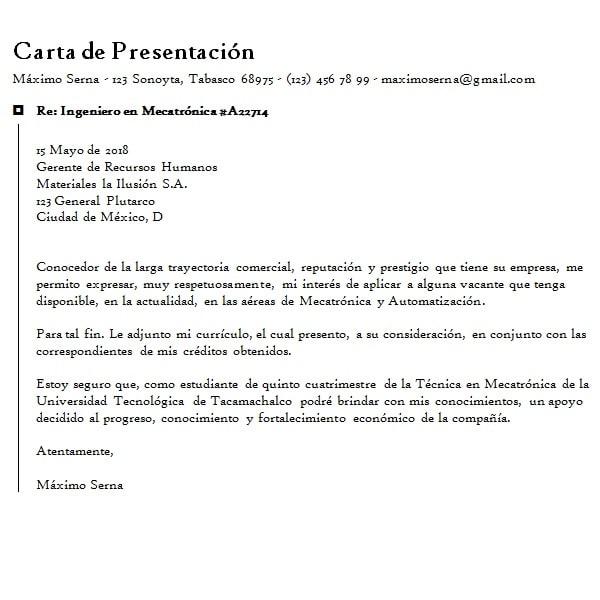 Carta de Solicitud de Empleo y Trabajo - Ejemplo en Formato Word