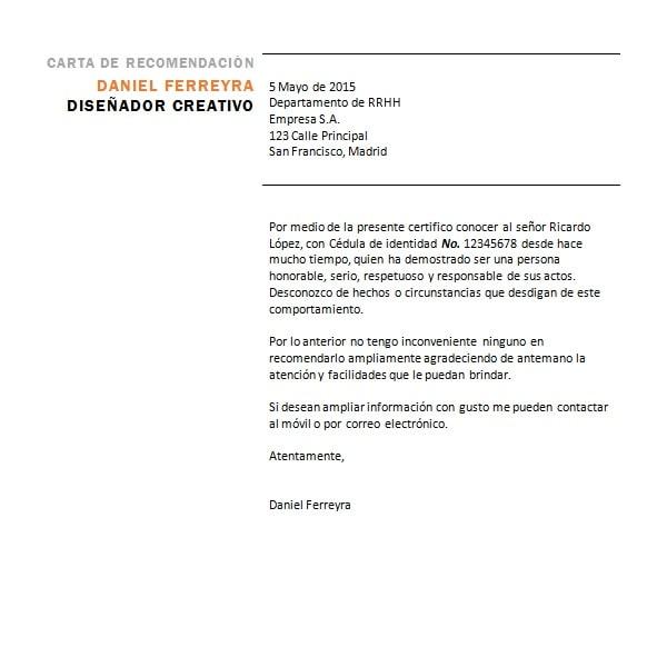 ejemplos de carta de referencia personal - Barcaselphee