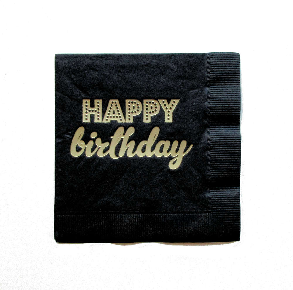 Servietten Schwarz 25 Schwarze Papier Servietten Mit Goldenem Happy Birthday Www