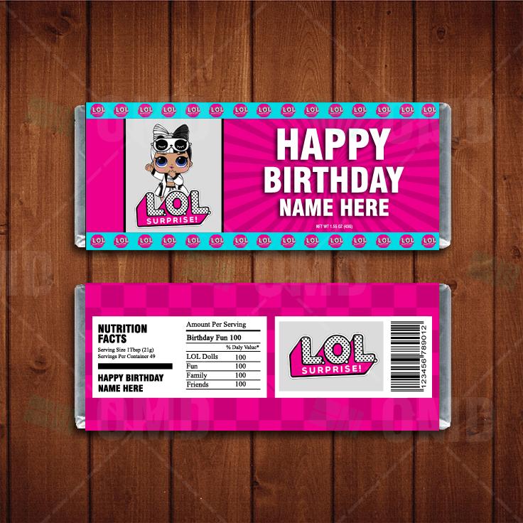 LOL Surprise Dolls Custom Candy Bar Wrappers \u2013 Cartoon Invites