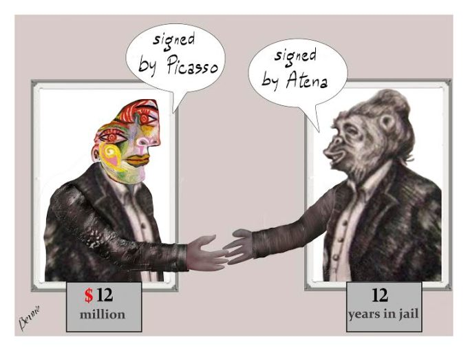 "A Picasso painting saying ""Signed by Picasso"" shaking hands with an Atena Farghadani cartoon saying ""Signed by Atena."" Under the Picasso is printed ""$12 million."" And printed under the Atena cartoon: ""12 years."""