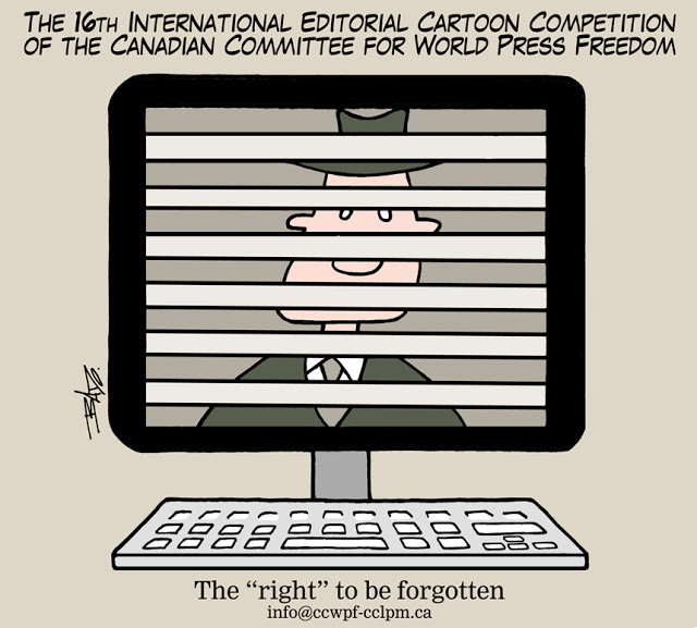 Poster announcement for Canadian Unesco cartoon competition for world press freedom showing the image of a man on a computer screen being erased