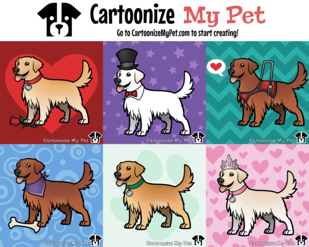 golden retrievers created on cartoonize my pet