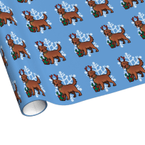 Red golden retriever Christmas wrapping paper