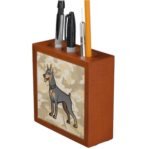 Cartoon blue doberman on desert camo background pencil holder