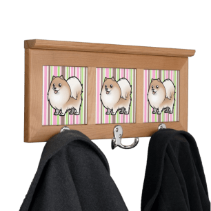 Cartoon pomeranian coat hooks