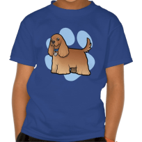 Red american cocker spaniel blue kids tshirt