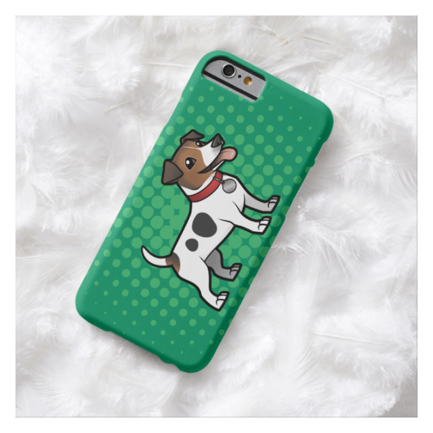 Jack Russell Terrier cartoon on green background on iPhone 6 case
