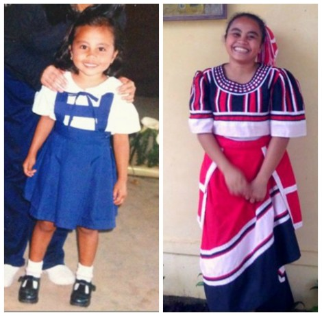 Arjane then and now: as a young learner at Sta. Teresita Pre-school in Miarayon, Bukidnon, and as a student of a Pamulaan Center for IP Education