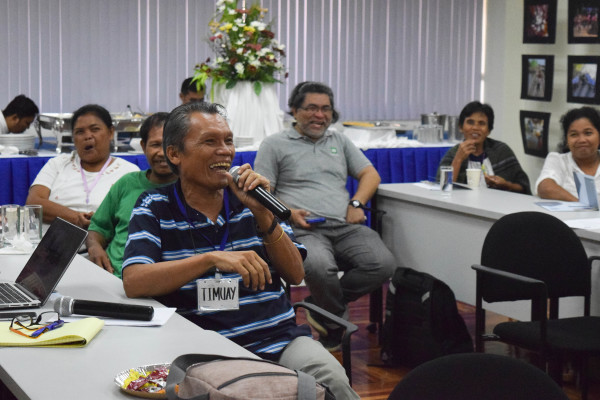 Timuay Alim from Maguindanao is among the participants who introduce themselves with an adjective that starts with the same letter as their first name.