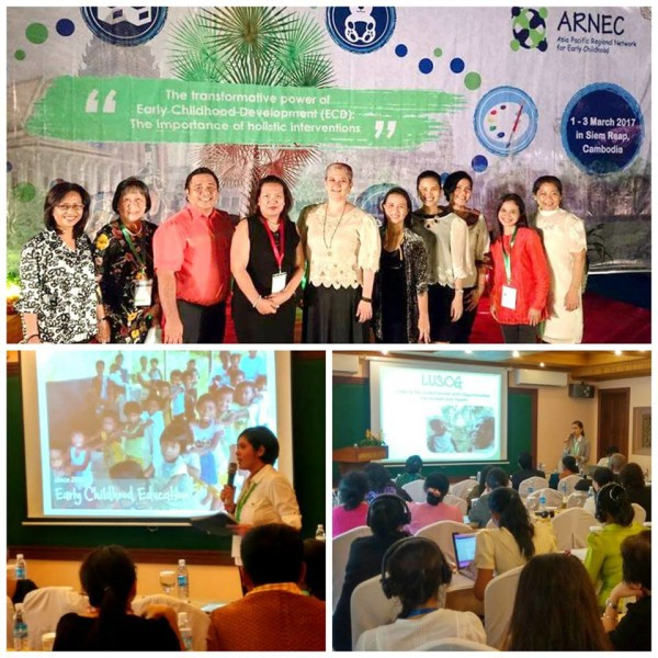 Top photo: Filipino participants at the ARNEC Conference. Bottom photos, L-R (standing): Pia Ortiz-Luis (Executive Director of Cartwheel Foundation, Inc.) and Coleen Ramirez-Panahon (Country Director of Cartwheel Foundation International, Inc.) during their presentation