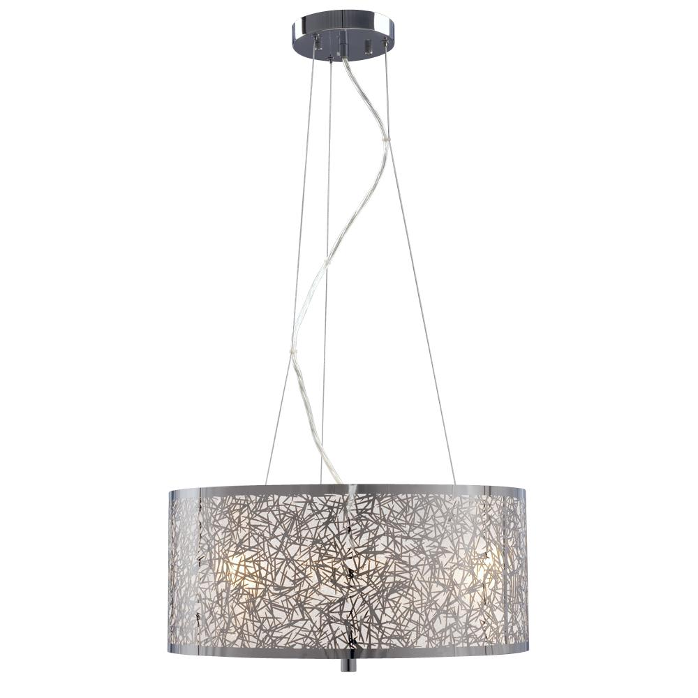 Galaxy Lighting 3 Light Pendant In Polished Chrome Laser Cut Metal Shade With