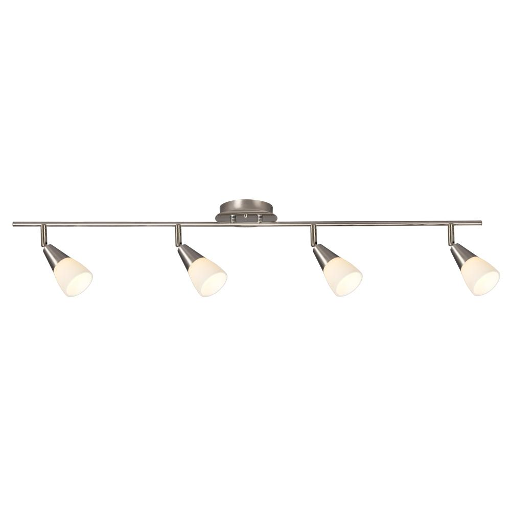 Galaxy Lighting 4 Light Led Track Light 4 X 3 5w In Brushed Nickel W White