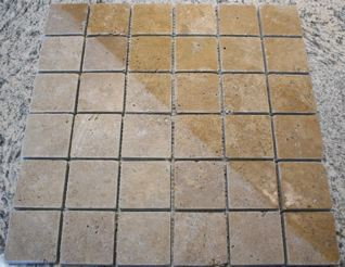 Noce Travertine Tumbled Square Mosaic Tiles Carved Stone