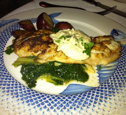 Grilled Red Snapper over swiss chard