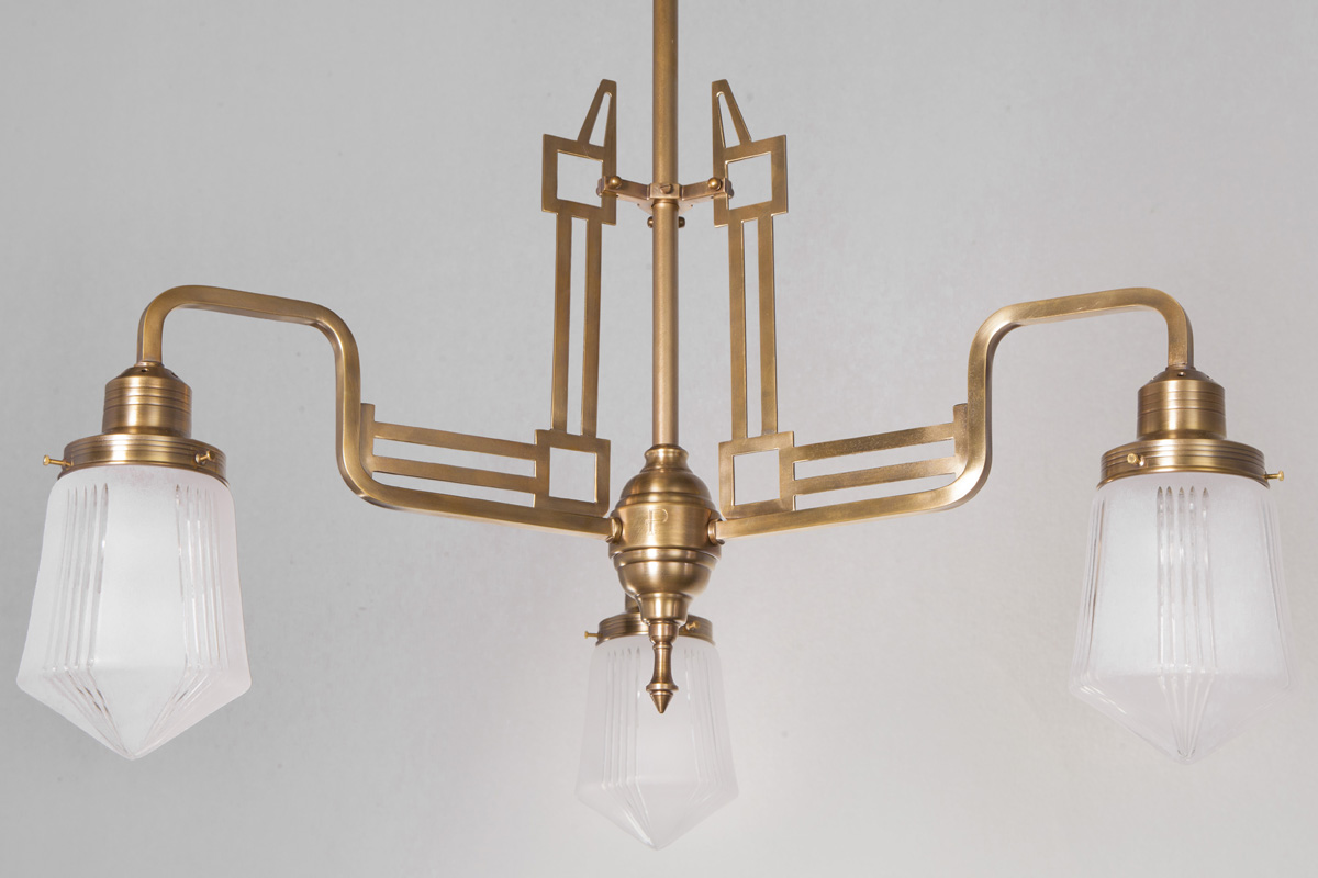 Art Deco Stil Art Déco Chandelier Three Armed In The Style Of Hoffmann Casa Lumi