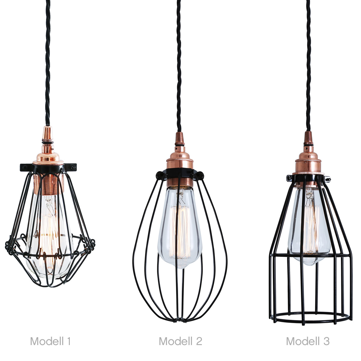 Lampe Kupfer Industrial Hanging Cage Light With Copper Bulb Holder Casa Lumi