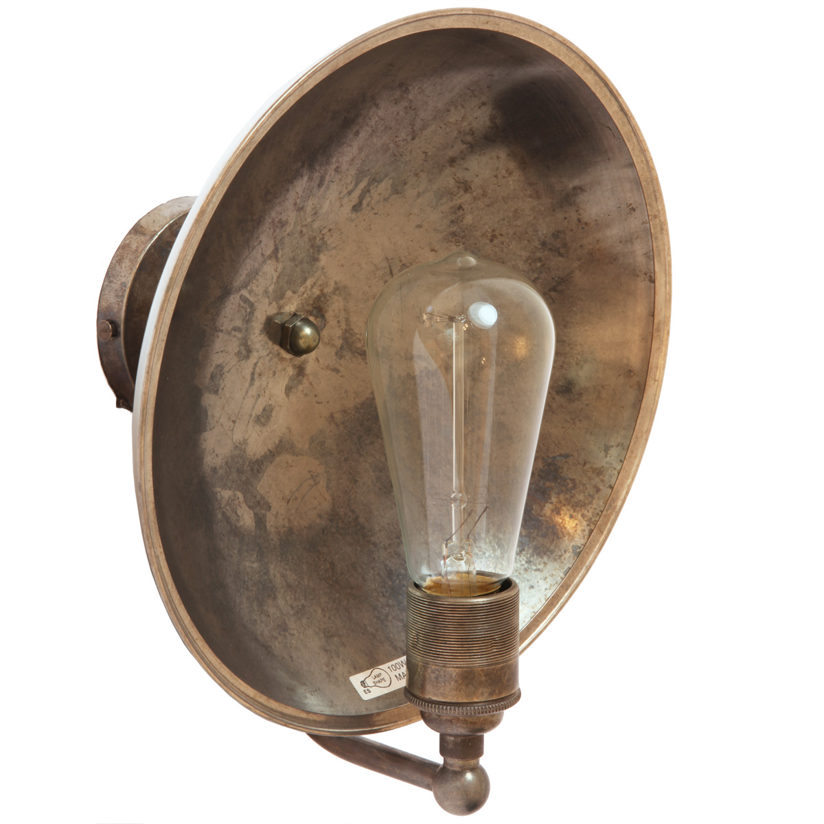 Nostalgic Wall Light With Brass Reflector Cull Casa Lumi