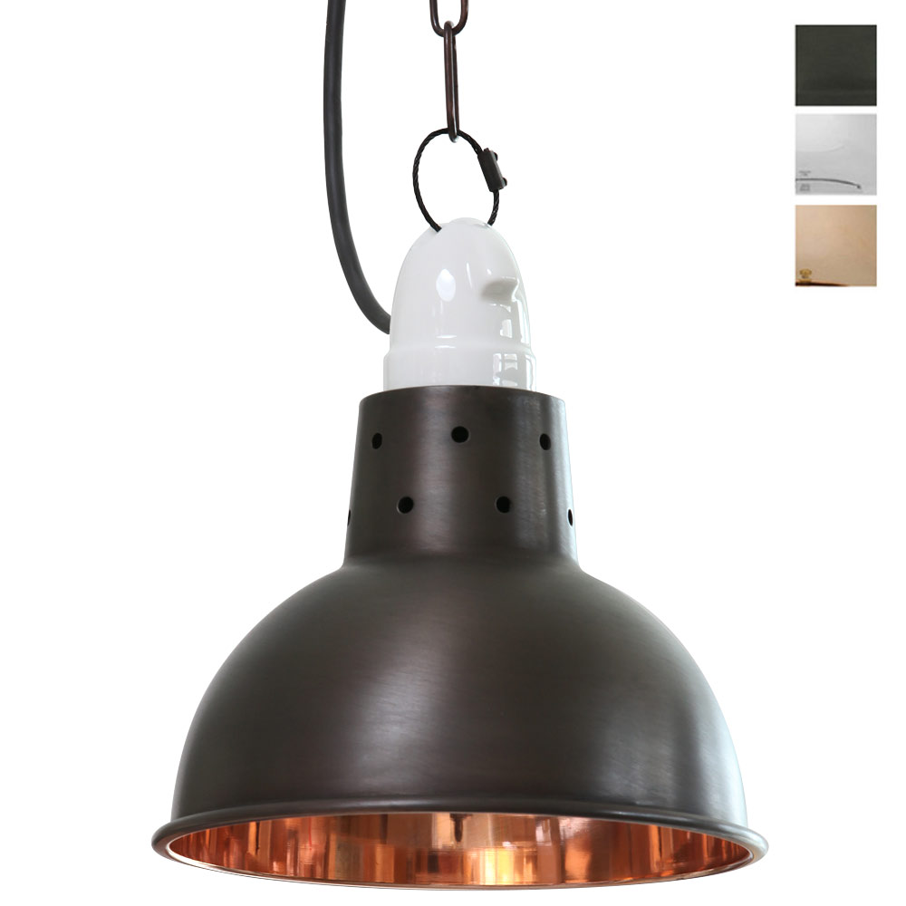 Lampe Kupfer Industrial Small Stable Lamp With Porcelain Holder In Copper Casa Lumi