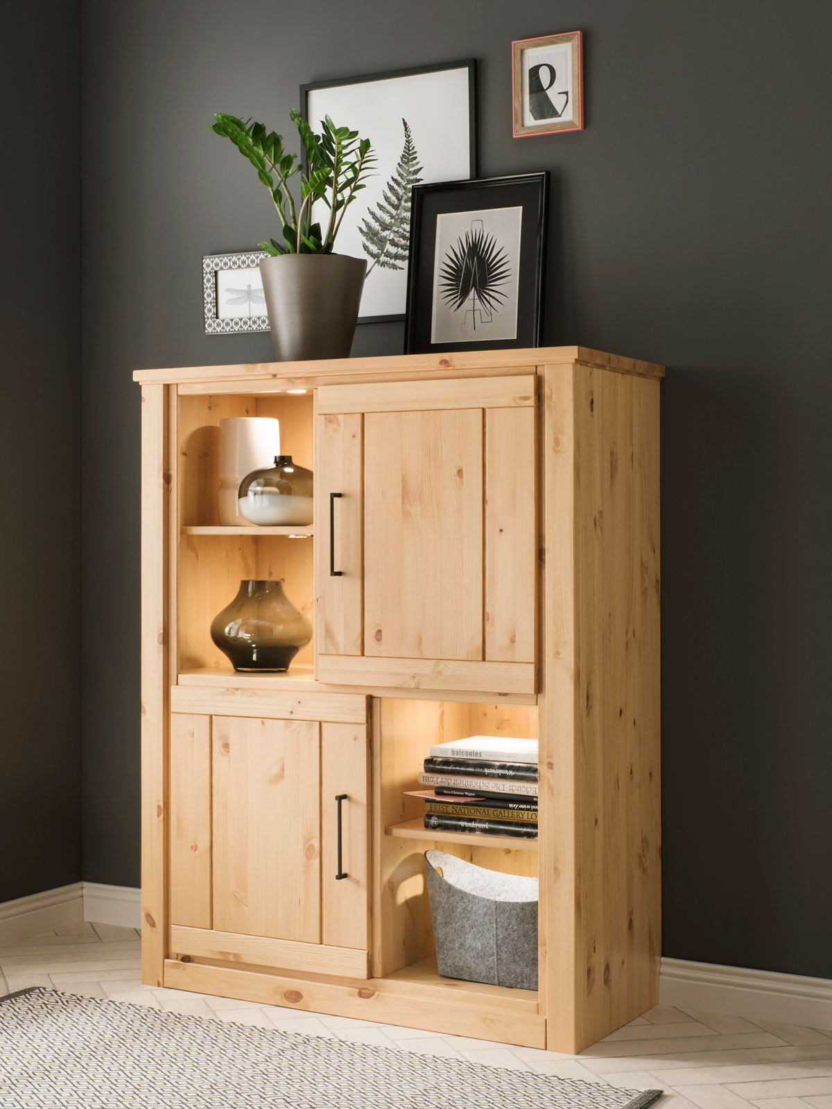 Highboard Kommode Highboard Hoch Kommode Verona 2 Türen 2 Regale Pinie Nordica Lackiert