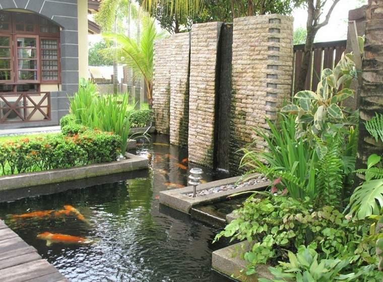 estanque koi fuente muro piedra Diseño Fuente de Agua Pinterest