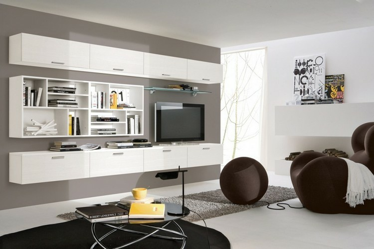 Meuble Support Tv Blanc Estanterias Modulares Para Salones Modernos - 38 Ideas