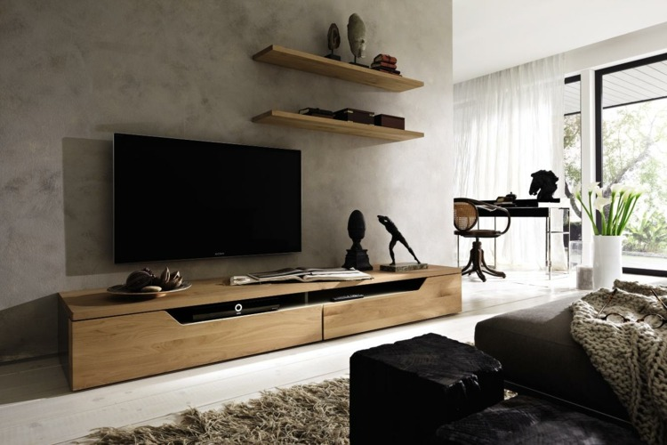 Meuble Tv Chene Fonce Muebles Tv Integrados Con Biblioteca - 75 Ideas Modernas