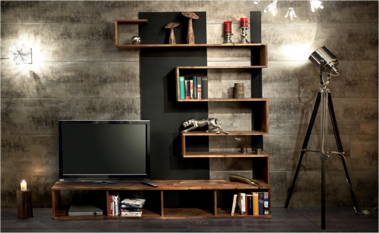 Meuble Tv En Palette Muebles Tv Integrados Con Biblioteca - 75 Ideas Modernas