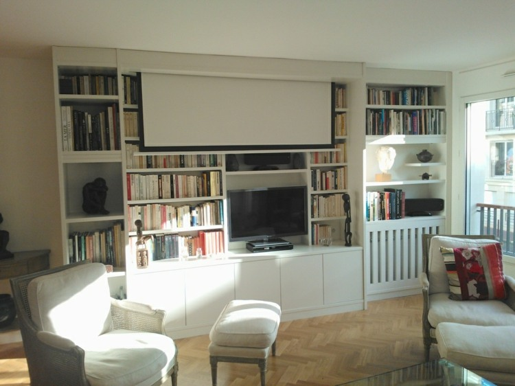 Muebles Tv Blancos Muebles Tv Integrados Con Biblioteca - 75 Ideas Modernas