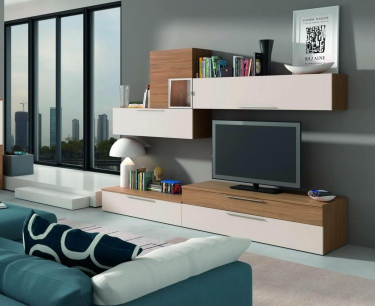 Muebles De Tv Originales Muebles Tv Integrados Con Biblioteca - 75 Ideas Modernas