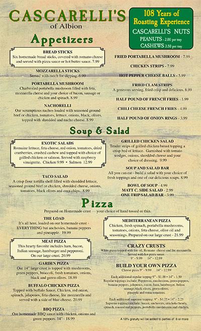 Daily Menu - Cascarelli\u0027s of Albion, Italian Restaurant, fine dining