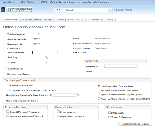PeopleSoft - Completing Online Security Form for PeopleSoft