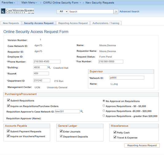 PeopleSoft - Completing Online Security Form for PeopleSoft - software request form