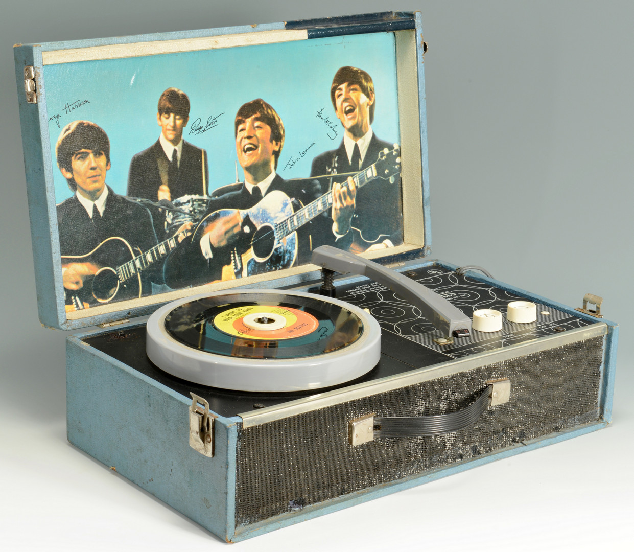Cloth Cabinet Lot 737: 1964 Beatles Record Player Nems & One 45 Record