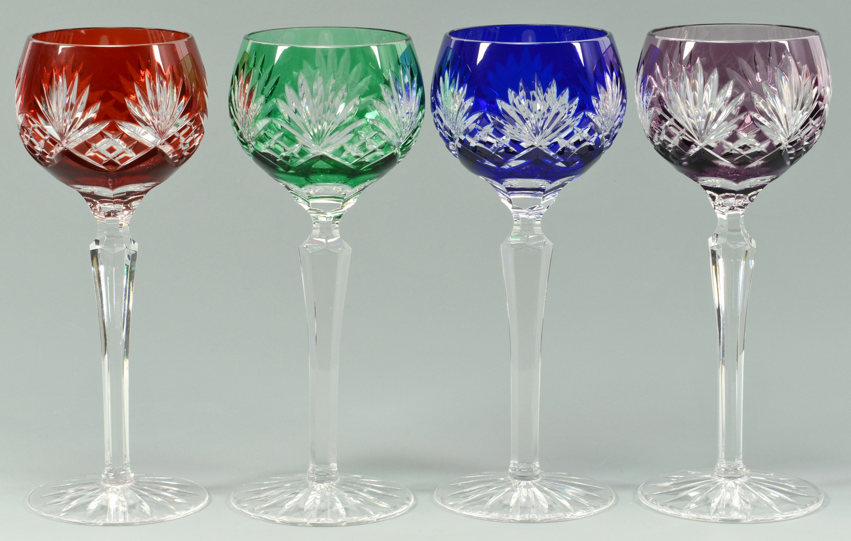 Cut Crystal Wine Glasses Colored Lot 879 12 Colored Crystal Wine Goblets