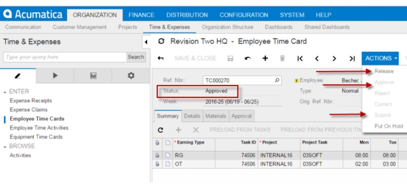 How to make an employee time card posting into Acumatica Cloud ERP - employee time card