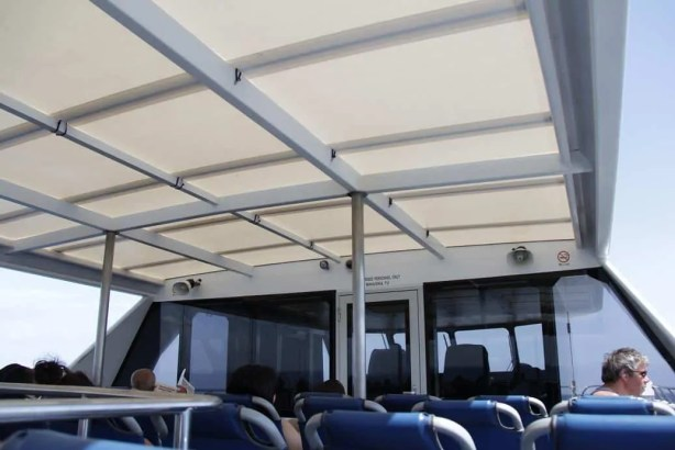 The top deck of the ferry we rode to Zanzibar