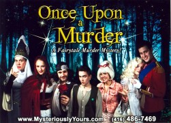 """The promotional photo for Mysteriously Yours... Mystery Dinner Theatre's """"Once Upon a Murder"""". L-R: The Queen (Barb Scheffler), Scarlet (Clare Preuss), Lupo (Tom Melissis), Jack Beanstalk (Simon Esler), The Fairy Godmother (Barb Scheffler), Princess Celeste (Birgitte Solem) and Prince Charming (Ian Ronningen)"""